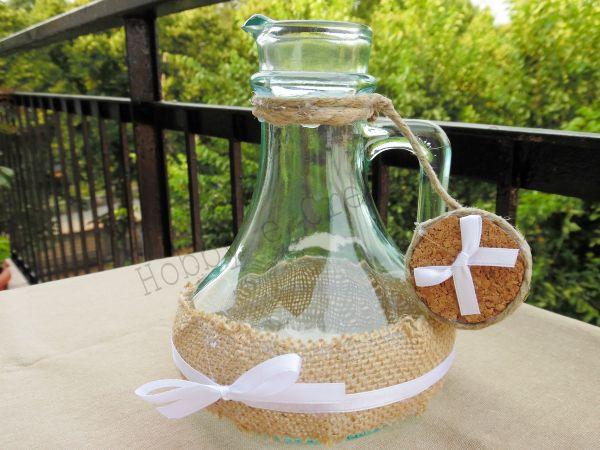 Licia Hobby&Creatività - ex bottiglia di olio aromatizzato diventa vaso per fori shabby