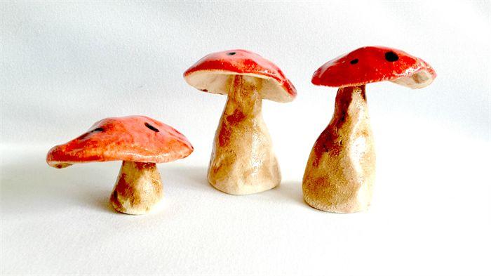 Pottery Mushrooms. Garden Art. Fairy Decor.