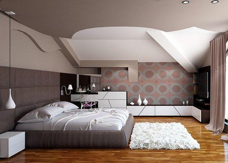 Camera da letto moderna in bianco e marrone