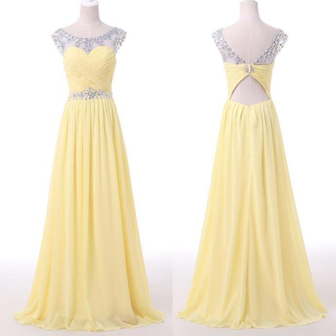 Chiffon Prom Dress,Beaded Scoop Sleeveless Prom Dresses,Sexy Prom Gown,Evening Dress by fancygirldress, $145.00 USD