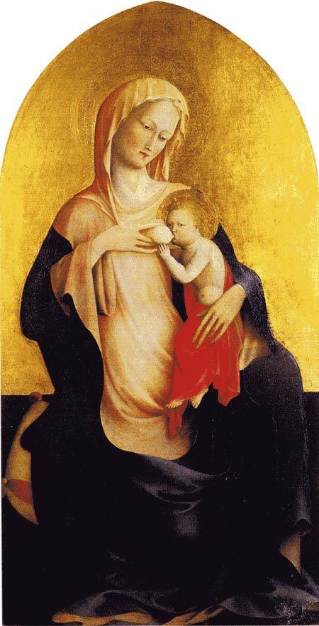 MASOLINO DA PANICALE  Panicale in Valdarno 1383 - ? 1440 ca.  Madonna dell'Umiltà  tempera su tavola, cm. 110,5 x 62  Firenze  Galleria degli Uffizi (inv. 1890 n. 9922)