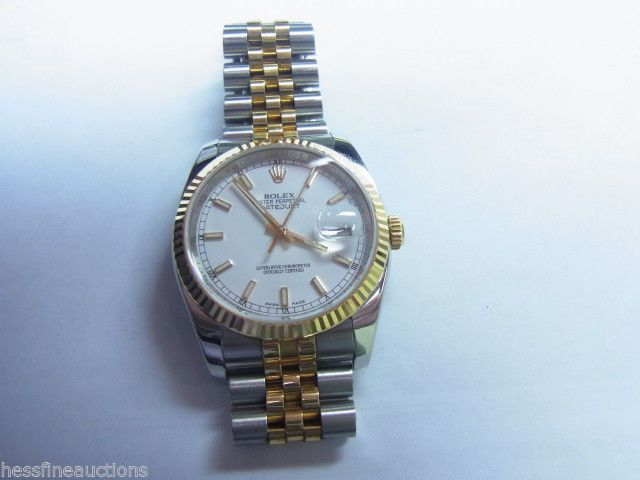Rolex 116233 18k gold ss mens datejust  box  papers 1 year hfa warranty tags