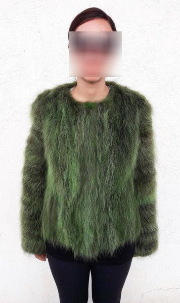 Winter Coats – REAL GREEN RACCOON FUR JACKET – a unique product by damianostsiolas on DaWanda