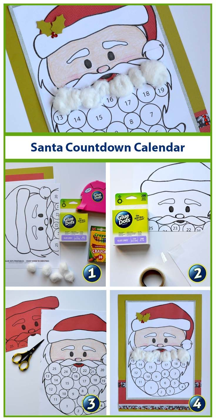 We're getting ready to count down to Christmas with a free printable!  Designer Dawn created an adorable Santa countdown calendar that can be enjoyed by the whole family!