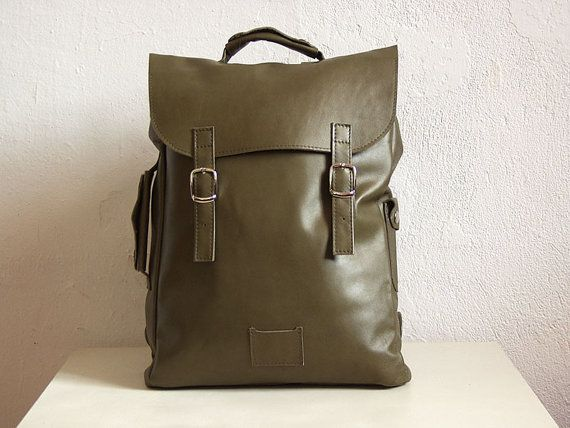 Dark-olive green large leather backpack rucksack / To order / genuine leather minimalist backpackrucksackkokosinasimple backpackknapsackback to school leather rucksack women woman girls gift
