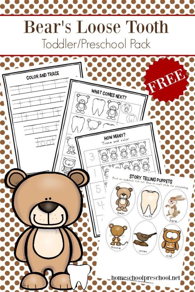 Printable Bear S Loose Tooth Preschool Book Activities Preschool
