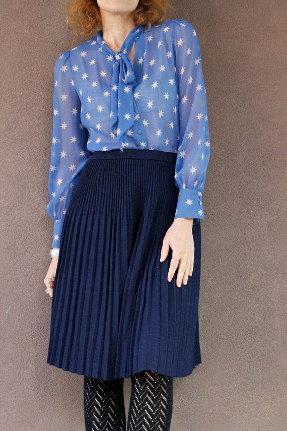 Vintage 80's Navy Blue Pleated SWEATER SKIRT