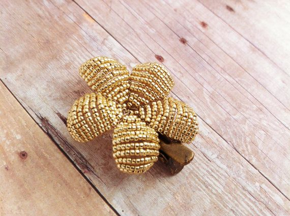 Flower Hair Clip  Bright Gold Hair Clip  Ododo by OdodoOriginals, $17.00