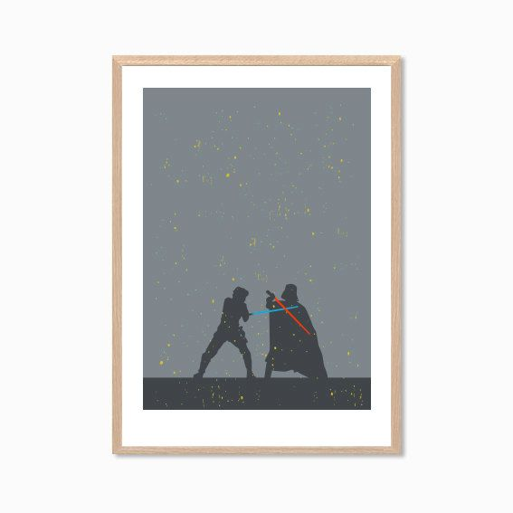 STAR WARS | Luke Skywalker VS Darth Vader Duell Poster: Moderne Star Wars Film Illustration Retro Art Wall Decor Print