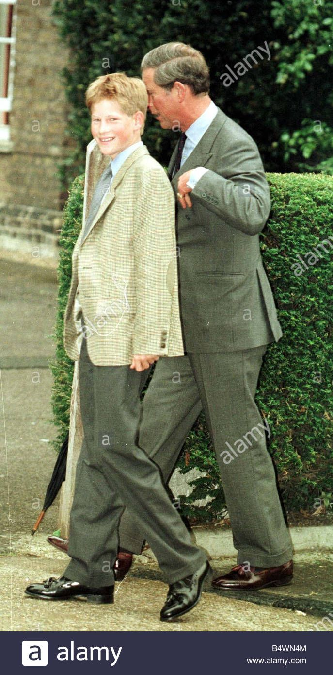 Download this stock image: Prince Harry arrives for his first day at Eton school with his father Prince Charles to register at Eton college September 1998 - B4WN4M from Alamy's library of millions of high resolution stock photos, illustrations and vectors.