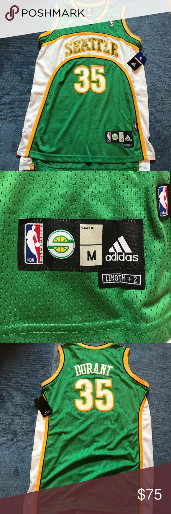 Kevin Durant Seattle Super Sonics Jersey This jersey will NOT last long on here. Brand new with tags Swingman Kevin Durant Seattle Super Sonics jersey!  Must have for any old school basketball fan or Durant fan!  Size Medium but I am a large 6'2 and slim, and it fits me beautifully as well!  Always willing to negotiate and always next day shipping. adidas Shirts Tank Tops