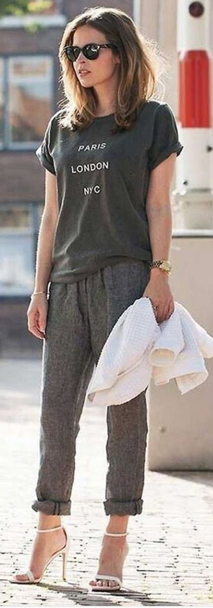 #spring #summer #street #style #outfitideas |Graphic Tee + Grey Pants