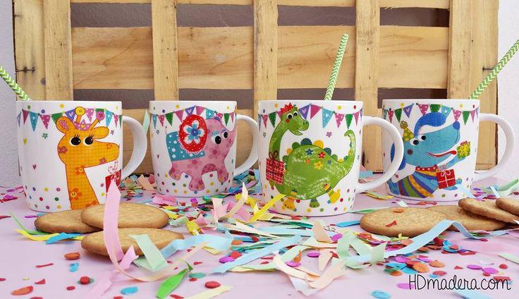 Tenemos unas tazas de cerámica chulis chulis para los más peques de la casa, ¡súper coloridas y con animalitos! Un regalito genial para navidad, reyes, cumples.... ¡Les encantara!