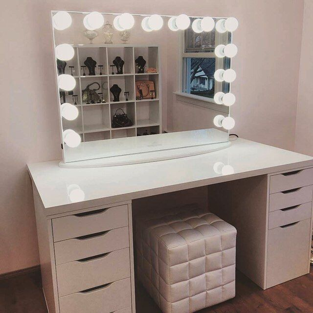 Vanity With Mirror Lights And Drawers : VoiceOfHair (Stylists/Styles) @voiceofhair STYLIST FEATURE Vanities, Instagram and Ikea table tops