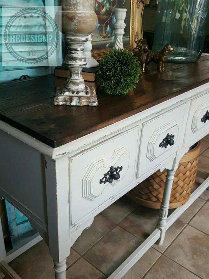 Barn wood top, antique white buffet by @WhyNotRedesign  www.facebook.com/whynotredesign