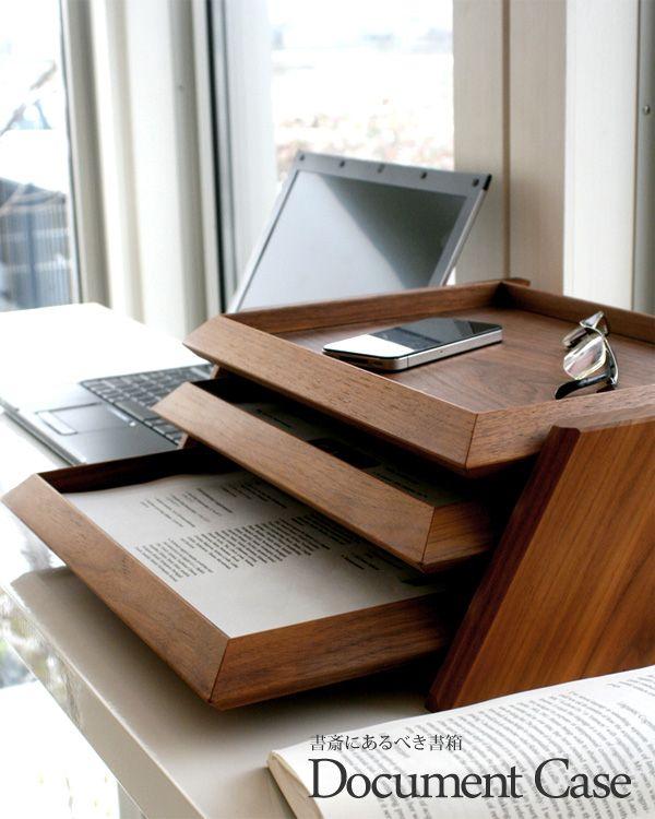 Hacoaブランドの無垢板を贅沢に使用した木製3段書類ケース「Document Case」Wooden Document Case.