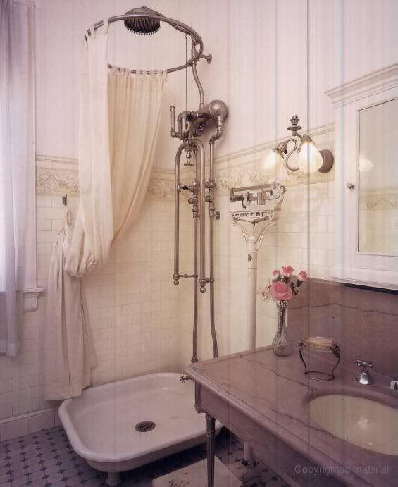1889 bath shower | stary przysznic, piękna instalacja