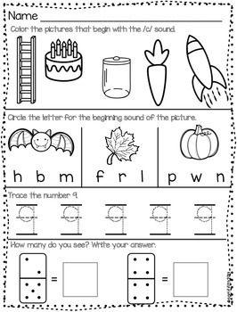 October Morning Work for Kindergarten! Great for morning routines!