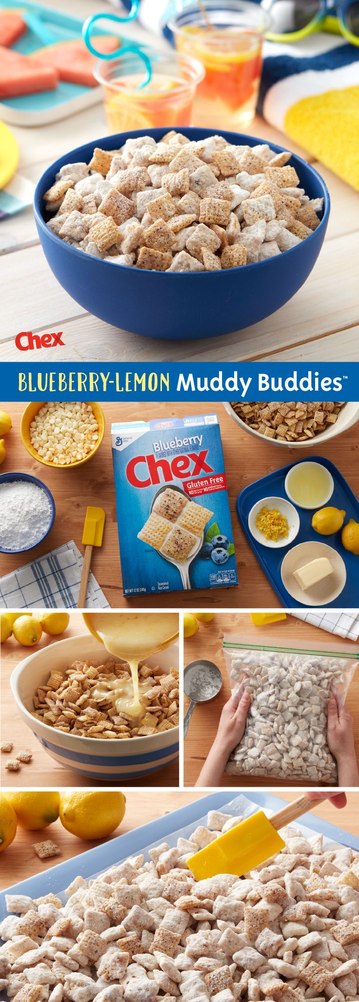 Made with NEW Gluten-Free Blueberry Chex, real lemon flavor, and a hint of sweetness, Blueberry-Lemon Muddy Buddies is here to make a splash at your next pool party! Ready in 15 minutes and with just 4 ingredients, Blueberry-Lemon Muddy Buddies is your pool party in the making.