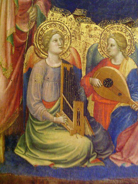 Mariotto di Nardo di Cione - La Vergine con quattro Santi e tre Angeli musicanti, dettaglio - 1385 - Musèe du Petit Palais, Avignon