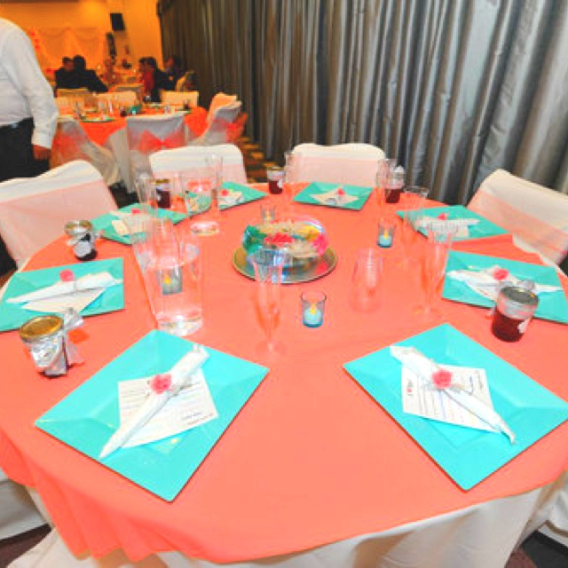 Turquoise And Coral Wedding Reception