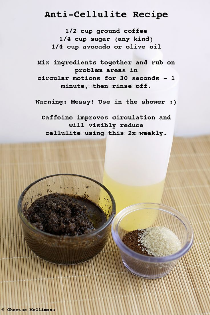 Anti-Cellulite Coffee Scrub - coffee granules, sugar, olive oil