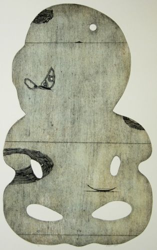 Simon Kaan, Untitled (Island Blue I), intaglio woodcut on 300 x 295 mm paper, from an edition of 12, 2013. NZ$1050 incl GST framed; N...