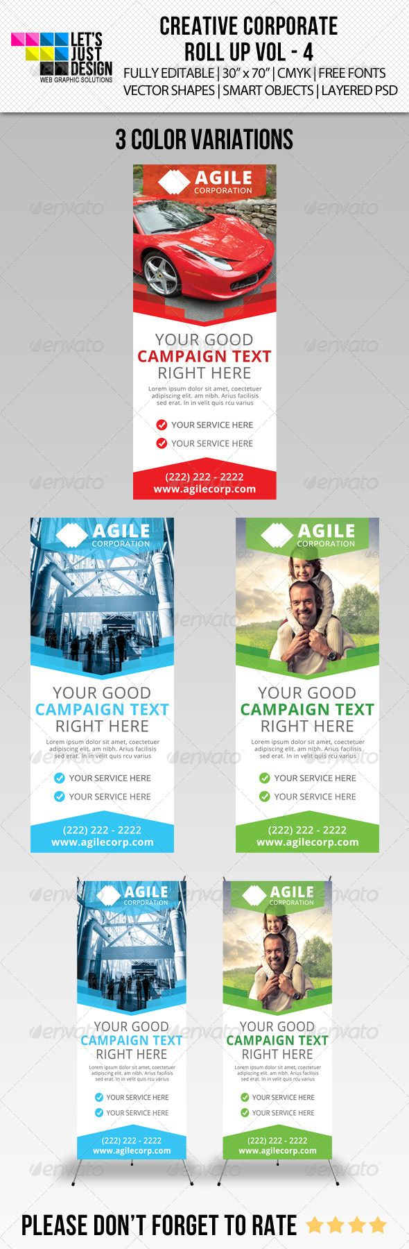 """Corporate Roll-Up Banner Vol 4 #GraphicRiver Corporate Roll-Up Banner Vol 4 Features: 3 Layered PSD. All Vectors – Fully Editable Files 30"""" x 70"""" + (1.00 Inch bleed.) 150 DPI CMYK Colors. Print Ready Files. Free Fonts Used ( Fonts info available in Help file.) Smart Objects Editing Instructions Provided. Support on item Provided. Template color can easily be changed to any desired color. Fonts: .fontsquirrel /fonts/open-sans Files Included: 3 PSD Files (3 Color Variations) 1 TXT (HELP FILE)…"""