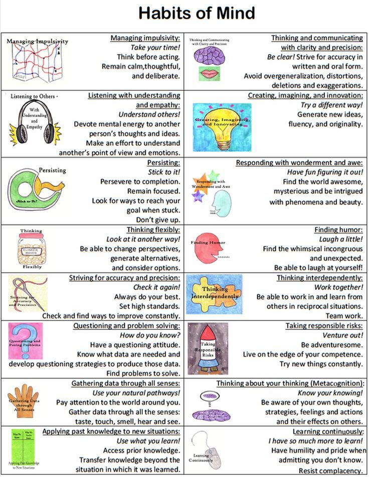 habits of the mind Teaching habits of mind – using habits of mind cards aim: to develop a broad understanding of each of the 16 habits of mind, and to develop students language skills in relation to the habits of mind.