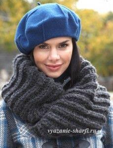 очень простой шарф-хомут спицами в резинку