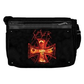 """Slayer Fire Cross Messenger Bag  Official licensed sturdy canvas Slayer messenger bag features Iron Cross logo on front flap.  Features include: * Large velcro seal front flab. * Front zip pocket for holding important belongings. * Large zip seal pocket on back * Adjustable shoulder strap with buckle clip. * Size laid flat not including shoulder strap measures approx 38cm (15"""") wide x 37cm (14.5"""") high"""