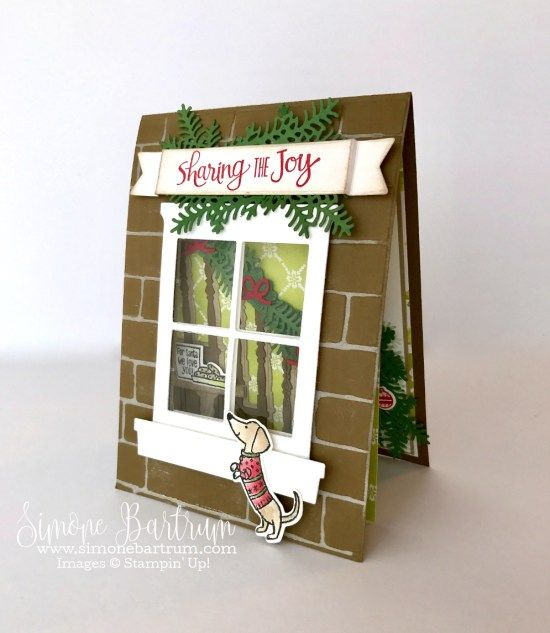 Ready For Christmas bundle meets Hearth & Home bundle, to create an adorable double front card. From www.simonebartrum.com. Stampin' Up! 2017 Holiday Catalogue Sneak Peek.