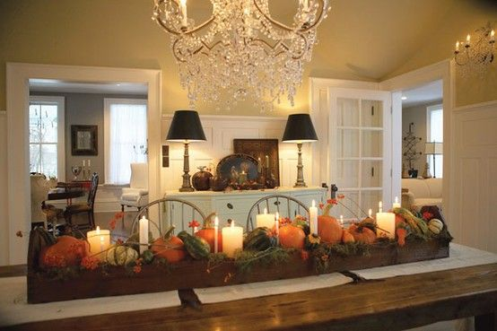 Love this trough centerpiece...