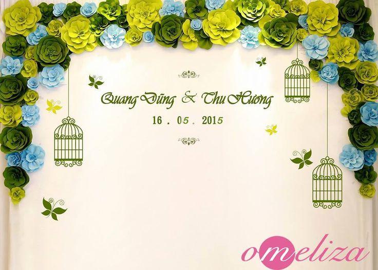 Sân khấu cưới hiện đại ấn tượng với phông bạt đám cưới hiflex kết hợp hoa giấy sang trọng