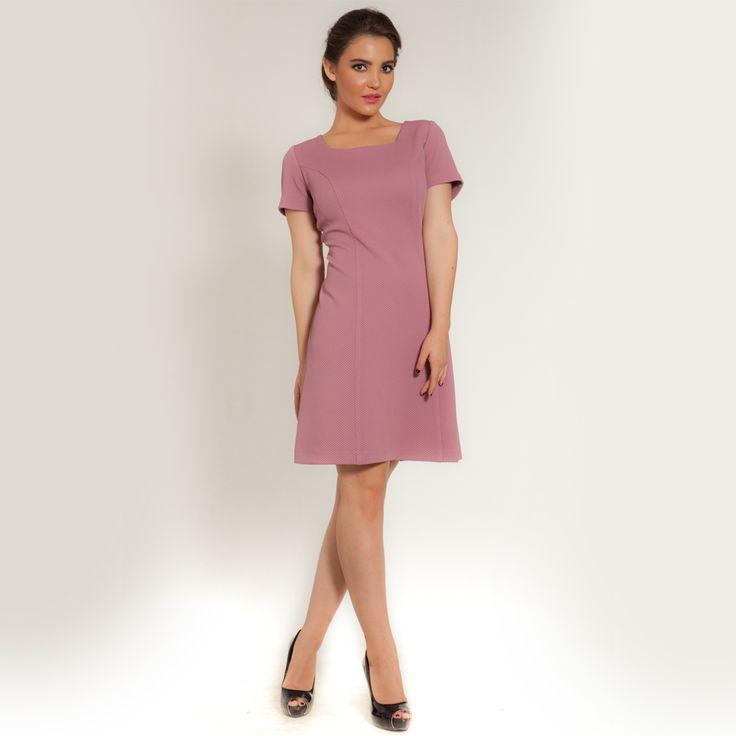 Φόρεμα ελαστικό πικέ - ρόζ