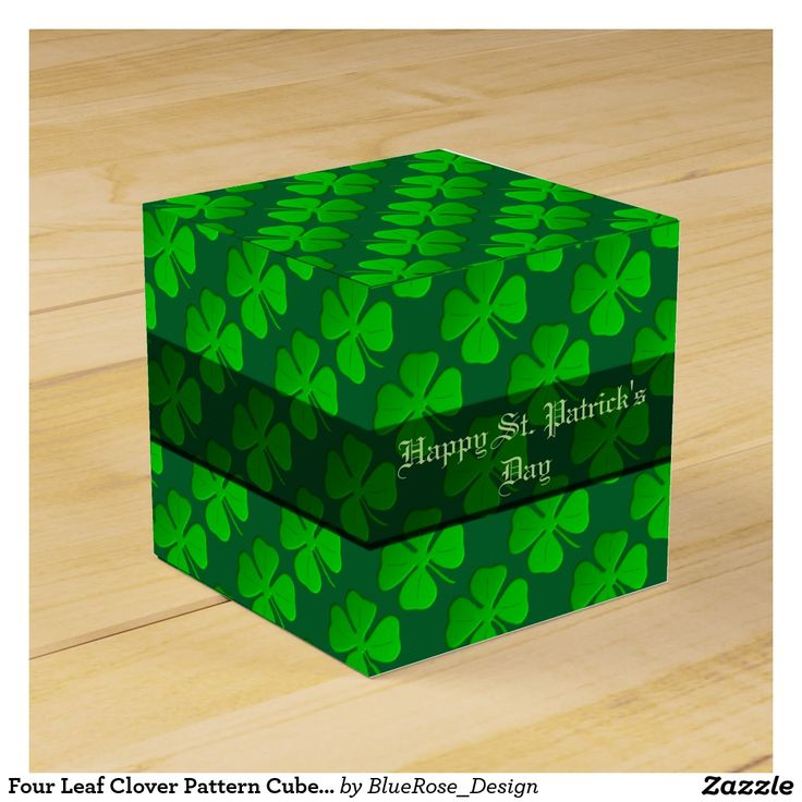 Four Leaf Clover Pattern Cube Favor Box