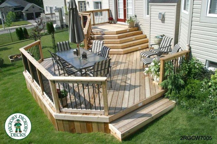 Large, two level cedar deck (#2RGCW7005).