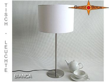 Tischleuchte BIANCA Ø 30 cm Tischlampe Leinen weiß. Klassik in Weiss - Elegant und edel: Die Tischleuchte BIANCA aus weißem, feinem Leinen strahlt mit freundlicher Eleganz.