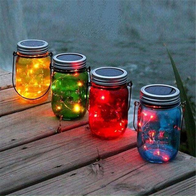 Superb Thrisdar 3pcs/Lot Mason Jar Solar Garden Fairy Light With Mason Jar Lid  Outdoor Solar