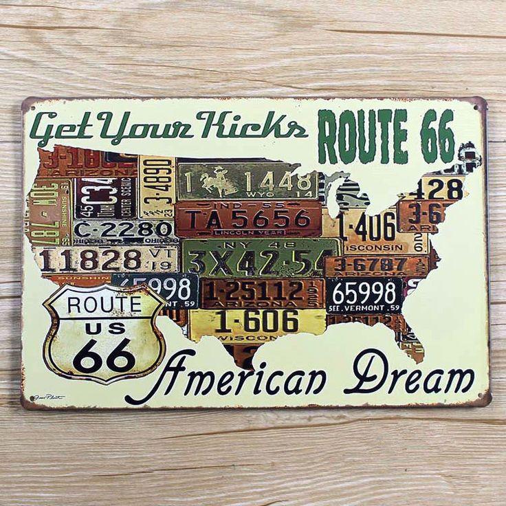 """Nouvelle arrivée En Métal D'étain plaque """"Route 66 rêve Américain"""" vintage maison bar café artisanat en métal peinture wall art décoration 20*30 CM(China (Mainland))"""
