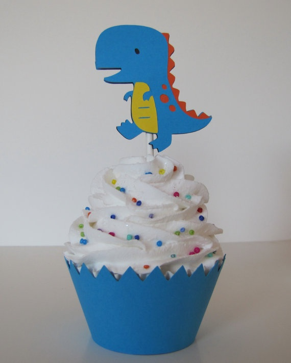 TRex Dinosaur Cupcake Toppers Set of 12 Dinosaur by MeadowsBrook, $8.00