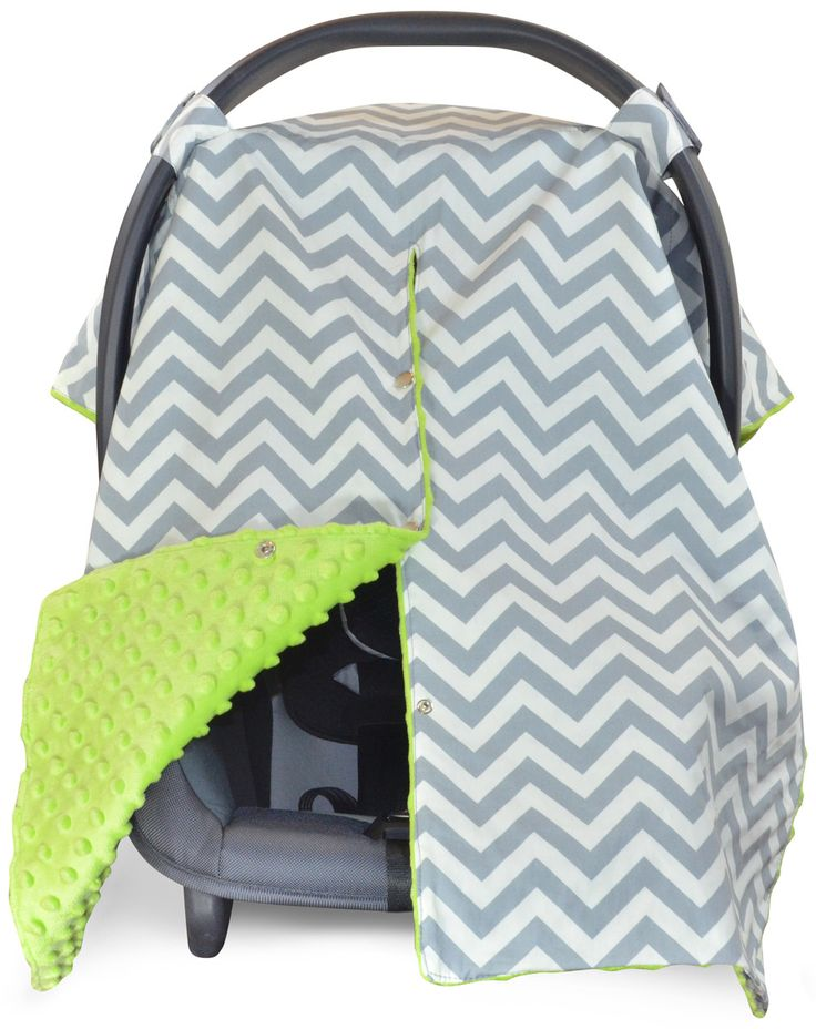 Chevron Car Seat Canopy with Lime Green Dot Minky and Peekaboo Opening™