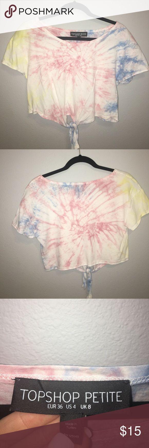 Topshop Petite Crop Top tie dye crop top with knot Topshop PETITE Tops Crop Tops