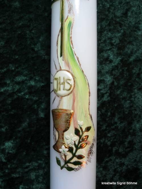 Kommunionkerze mit Kelch und Hostie // communion candle chalice and host