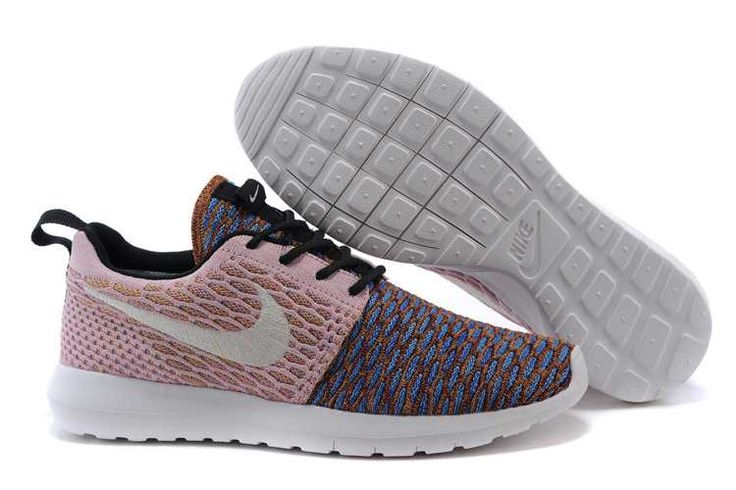 The cheapest Nike Roshe Run Flyknit Mens Pink Colorful Blue Premium
