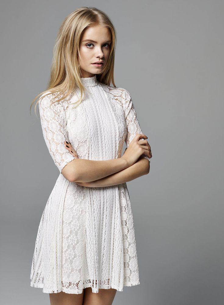 High collar white lace dress