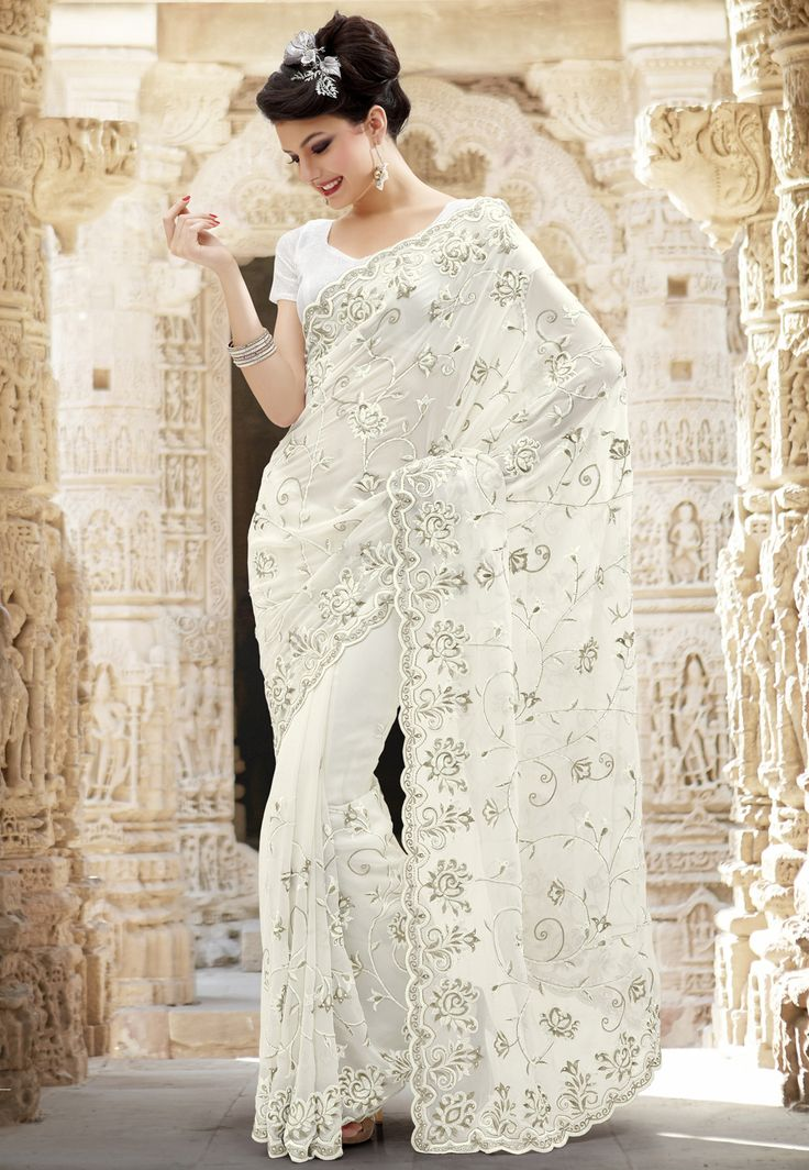 Off #White Faux Georgette #Saree With Blouse