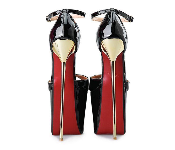 Trendy High Heels For Ladies : Günstige Neue 22 CM ultra dünne metall ferse pumpe extreme high HEEL mit Platt