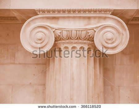 Architectural detail of an ancient decorated capital vintage