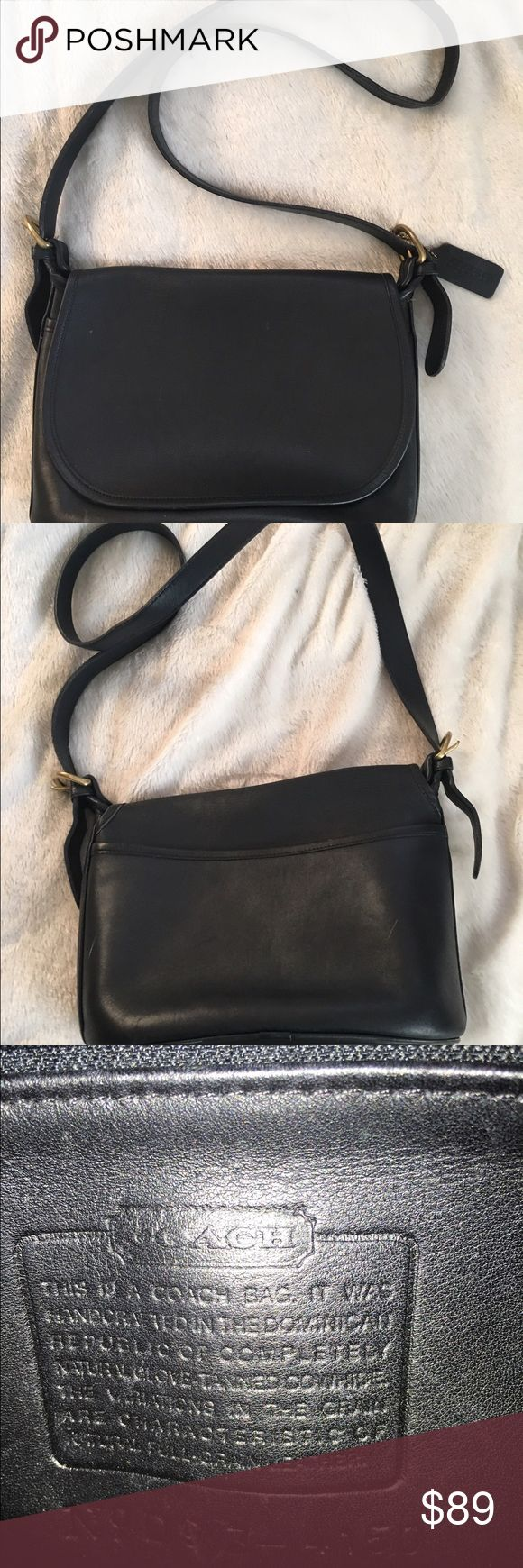 """Coach classic hobo Classic black hobo aprox 12""""x4.25 x 8"""" coach no. D9z 4250 w/ flap  over 1 1 open slot conpartment & 1 big  compartment w/ zip closure which has a smaller pocket on the inside that also has a zipper to close, put side back side has another open slip pocket, adjustable sholder strap measures aprox 1"""" x 46"""", this bag has never been carried only has a few minnor scuffs on outside from just hanging around, condition is execellent! Can't go wrong with this Beautiful bag at a…"""